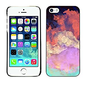 Soft Silicone Rubber Case Hard Cover Protective Accessory Compatible with Apple iPhone? 5 & 5S - sky painting colorful art orange clouds