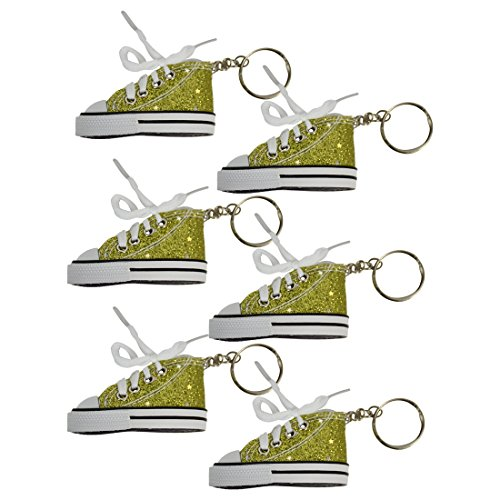 Set of 6 Yellow Sparkle Shoe Keychains from SandT Collection