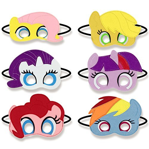 Keklle Girls Birthday Party Favors Felt Masks Novelty Toys Girls Birthday Gifts for My Little Pony Party Supplies (6 PCs) -