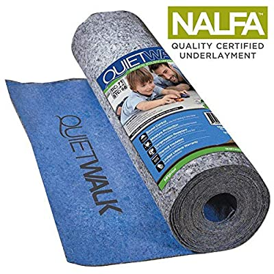 MP Global Products Laminate Flooring Underlayment with Attached Vapor Barrier Offering Superior Sound Reduction, Compression Resistant and Moisture Protection, 100 sq. ft, Blue