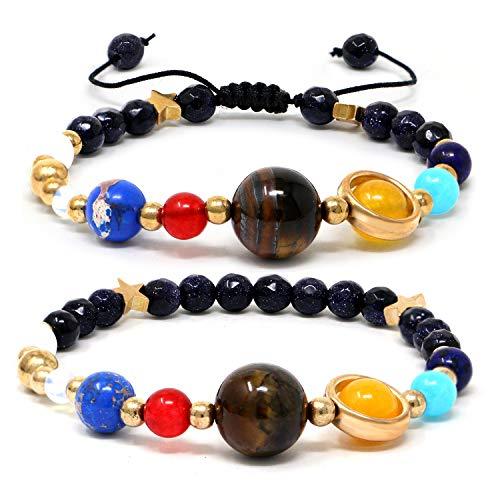 Qunan Solar System Bracelet Universe Galaxy The Eight Planets Guardian Star Natural Stone Beads Planet Bracelet Bangle for Men Women ()
