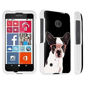 DuroCase ? Nokia Lumia 530 Hard Case White - (Bulldog Glasses)
