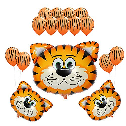 CUEA 16Pack Kids Birthday Party Decorations 30inch Tiger Balloon 12inch Latex Balloons for Farm Animal Theme Party Kid Birthday Party Favors -