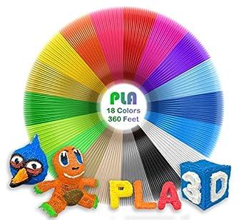 dikale Pla 3d pen filamento recargas (18 colores, 20 pies cada ...