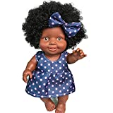 Reborn Baby Doll H.eternal Interactive Doll Nurturing Doll African American Black Girl Movable Joint 10 inch Toy for Hospital Pregnancy Monther Kid 3-6 Years Old (Blue)