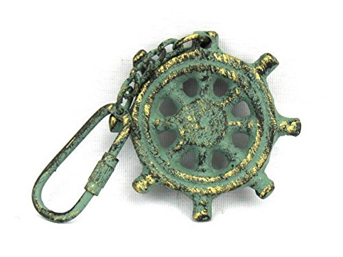 Handcrafted Decor K-49015C-bronze Antique Bronze Cast Iron Ship Wheel Key Chain44; 5 in. by Handcrafted Decor
