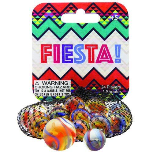Mega Marbles Themed Marbles- 24 Player Marbles (5/8'') - 1 Shooter (1'')- (Fiesta) ()