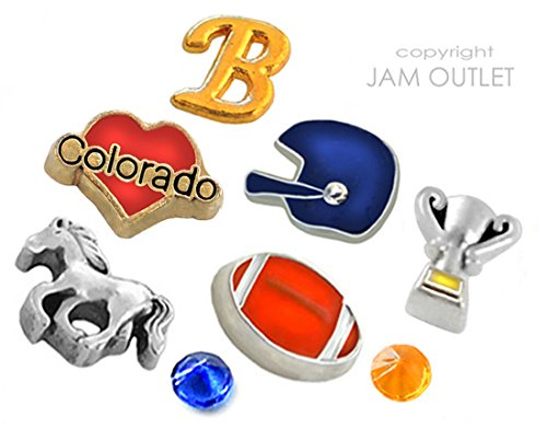 8 Pc DENVER Football Sports Fan Floating Charms - Fits all 30mm Living Memory Glass - Colorado Denver In Outlets