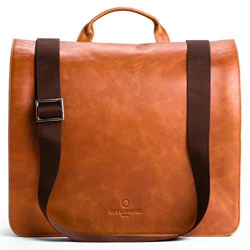 OFFERMANN Ledertasche Messenger inklusive 14 Zoll Laptopfach als Umhängetasche 6 Liter dunkelblau Cognac