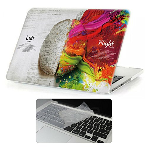 Rinbers 3D Print Ultra Slim Rubberized Hard Shell Case Snap-On Top&Bottom Hard Cover Case for MacBook Pro 13 13.3 inch Retina NON CD-ROM (Model: A1425 & A1502) - Classic Left & Right Brain