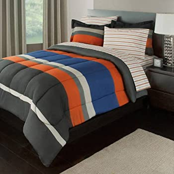 Amazon Com Blue Amp Gray Stripes Teen Boys Twin Comforter