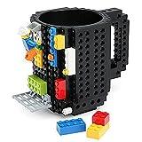 ufengke DIY Toy Building Bricks Mug For Boys, PVC Mug And Coffee Cup With Toy Bricks, Black