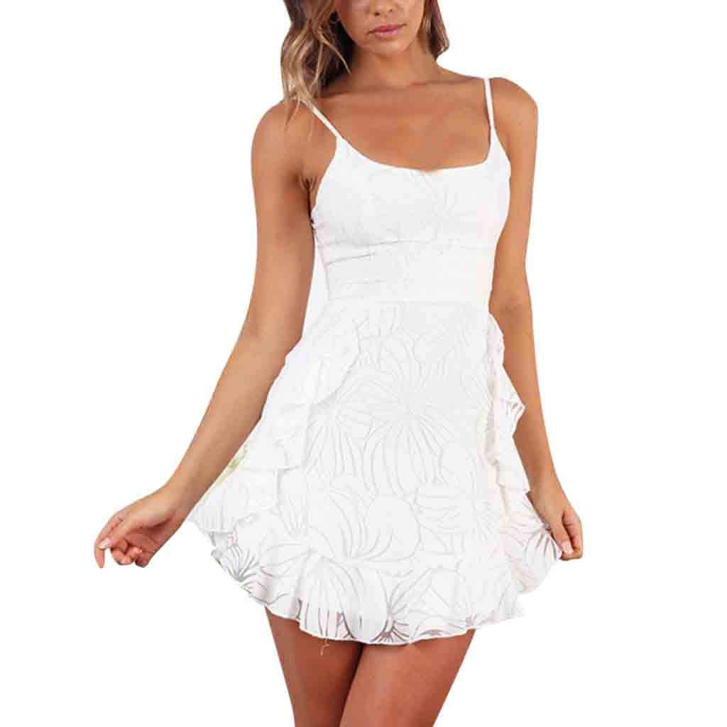 Ximandi Womens Holiday Print Lace Up Ladies Summer Beach Buttons Party Dress White