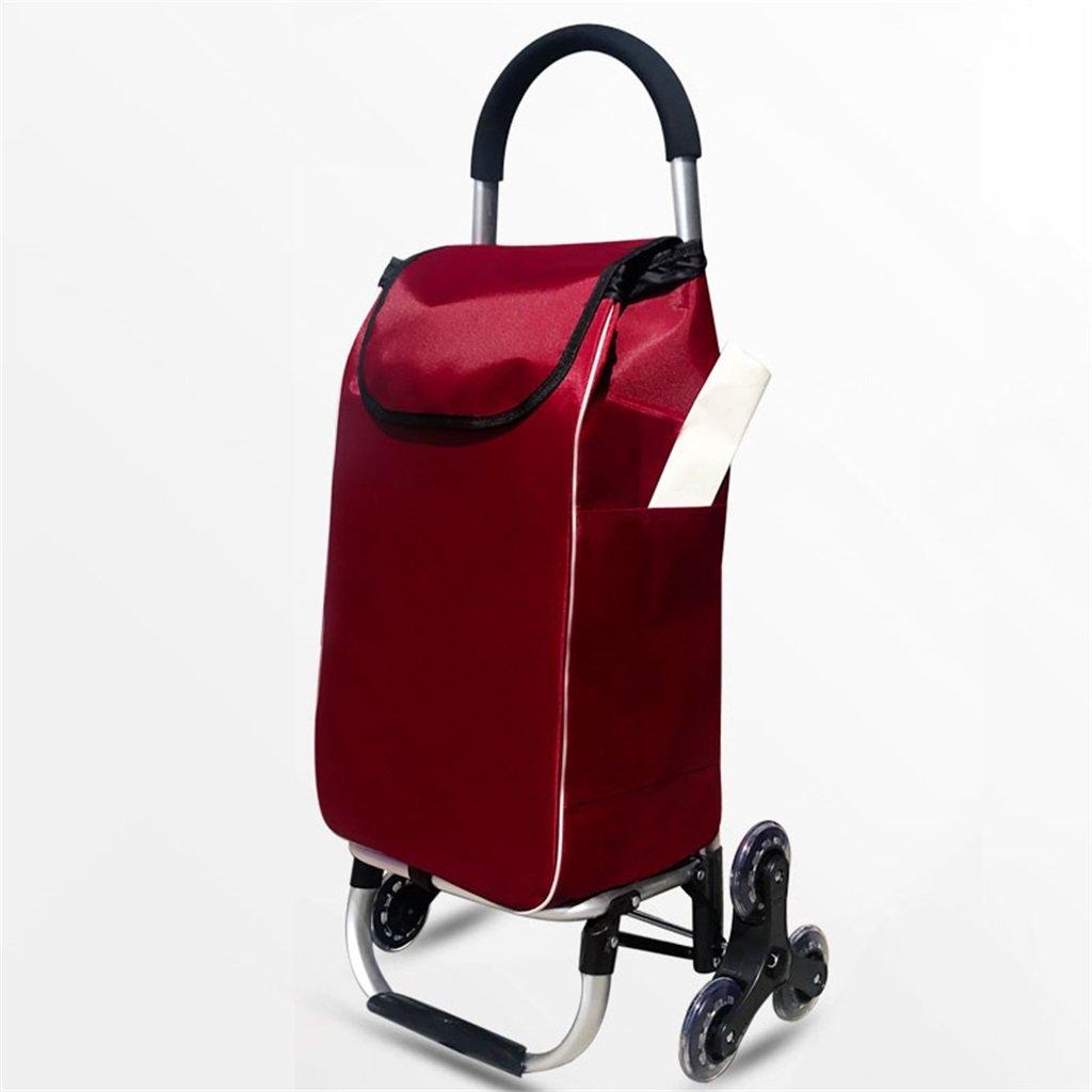 FXJGWC ショッピング旅行アルミ合金ハンドトラックショッピングカート折り畳み式家庭用ポータブルソリッドカラースリーラウンドレバーカー小型トレーラートロリー (Color : Red wine) B07SPB2WXR Red wine