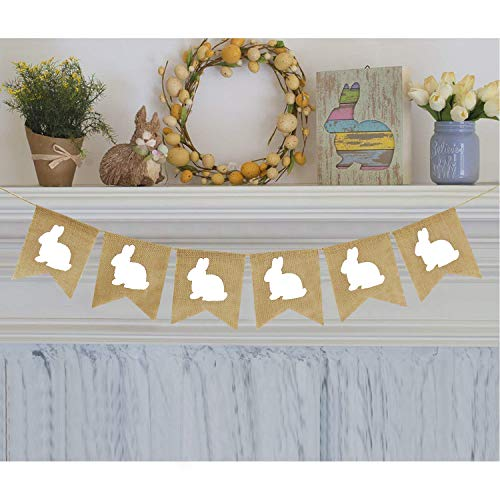(Rabbit Burlap Garland | Bunny Burlap Garland | Rustic Easter Decorations | White Rabbits Banner)