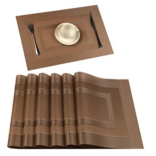 UArtlines Placemat, Crossweave Woven Vinyl Non-Slip Insulation Placemat Washable Table Mats Set (6pcs placemats, HK Champagne)