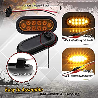 Meerkatt (Pack of 6) 6 Inch Oval 2 Amber + 2 Red + 2 White Turn Stop Reverse Tail Lights Sealed Bulb Waterproof Universal Cab Lorry Bus Truck Jeep Caravan Trailer Resin & Plug 12v DC Flush Mount UA12: Automotive