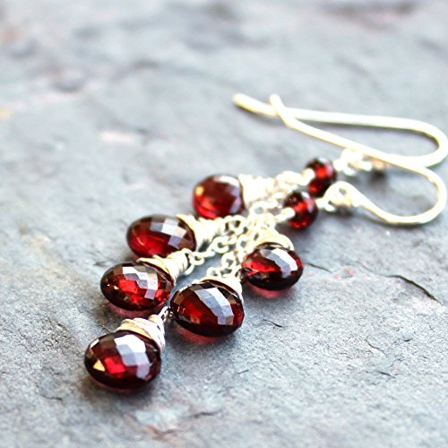 Garnet Dangle Earrings Sterling Silver Red Gemstone Briolettes Cascade Berries Faceted Beads