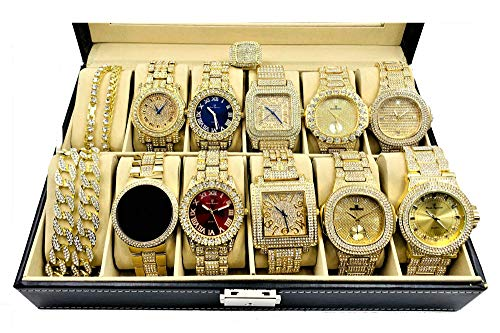 Bling King Set of 10 Rapper Collection Hip Hip Iced Out Gold Mens Watch with Necklace and Ring - GS10NR