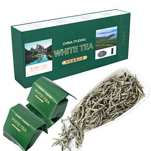 MUDEREK Te Blanco, fusion de la Aguja de Plata BAI HAO Yin Zhen Naturaleza Delicioso Kungfu Health Mantener el te de Hoja Suelto 3 6oz / Paquete de 100 g de 20