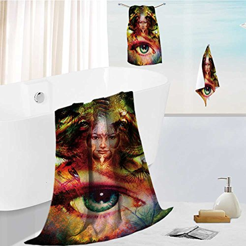 (Jiahonghome Microfiber Beach Towel set with Travel painting mighty lion head and mystic woman face with bird phoenix tattoo on face ornament Ultra Absorbent Towel for the)