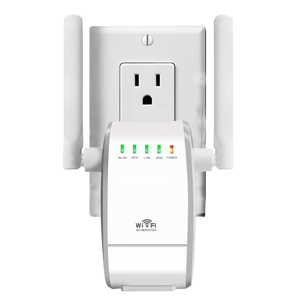 WiFi Range Extender/300Mbps Mini WiFi Extender/360 Degree Full Coverage/Wireless Repeater/Internet Signal Booster with External Antennas (White) by SikeLI