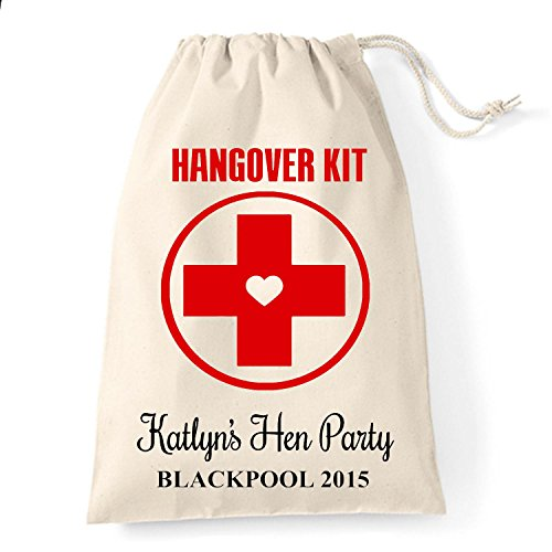 15cm x 20cm Small Personalised Hen party Hangover survial kit cotton drawstring bag
