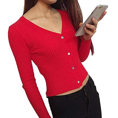 Unique V Donna Outwear Single Stlie A Breasted Moda Slim Autunno Giacca Eleganti Cappotto Giacche Rot Lunghe Primaverile Fit Knit Monocromo Maglia neck Maniche 1Axxq67E