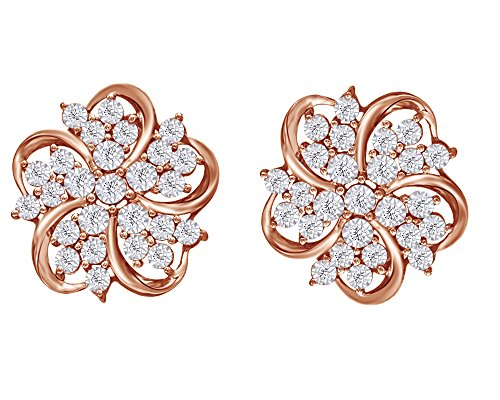 (Mothers Gift Round Cut Natural Diamond Star Flower Stud Earrings In 14K Rose Gold Over Sterling Silver (0.16 Cttw))