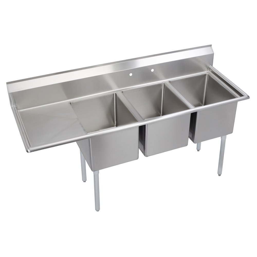 Standard 3-Compartment Sink, 18'' left drainboard