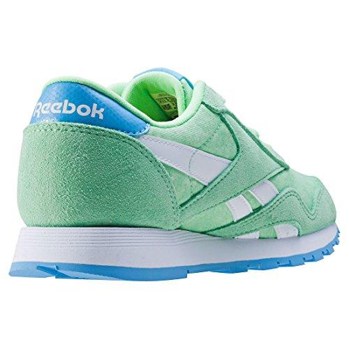 Sneaker Cl mint Femme Green sky Washed Vert Basses Reebok white Nylon Blue 47qUt