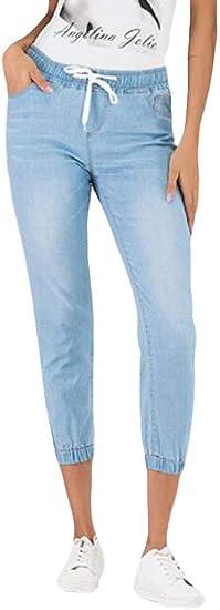FRPE Women's Jogger Pants Plus Size High Elastic Waist Jeans Denim Pants