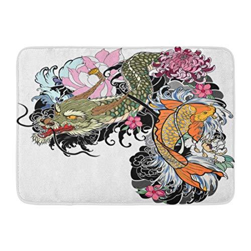 Emvency Doormats Bath Rugs Outdoor/Indoor Door Mat Dragon and Koi Fish Flower Tattoo for Arm Japanese Carp Line Drawing Coloring Book Fighting Water Splash Bathroom Decor Rug 16