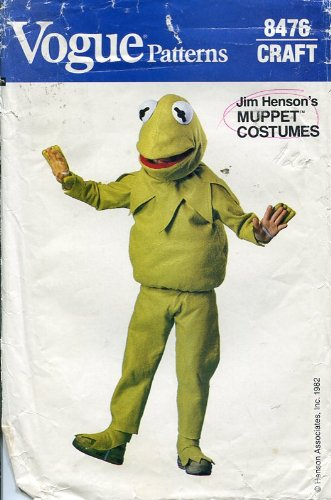 Vogue Craft Patterns #8476 ~ Children's Kermit the Frog Muppet Costume (Kermit The Frog Costume Pattern)