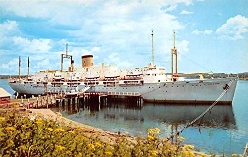 Military Battleship Postcard, Old Vintage Antique Military Ship Post Card Maine Maritime Academy Training Ship State Maine at Castine, ME, USA Unused