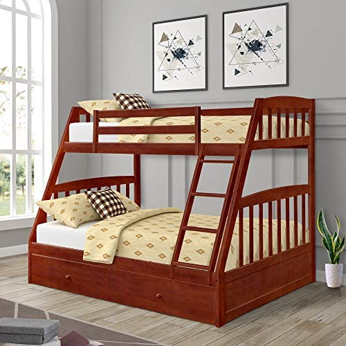 Twin Over Full Bunk Bed with Storage Drawers, WeYoung Solid Wood Bunk Bed Frame with 2 Raised Panel Bed Drawers, Separate to Twin Full Bed Walnut