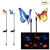 Mudent Solar Powered Garden Stakes 7 LED Colors Waterproof for Garden, Decor for for Patio Garden Yard Plants Flowers Wedding Decor (2 PCS)