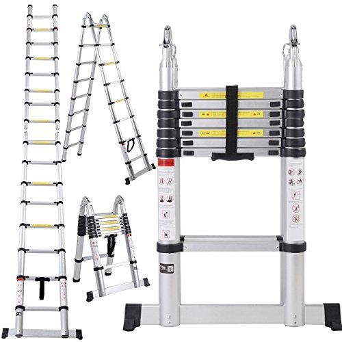 ALightUp Multi Purpose 16.5ft Aluminum Telescoping Ladder, Extendable Telescoping Ladder, Non-slip Ribbing 330 Pound Capacity