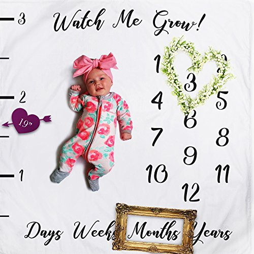 Baby Milestone Fleece Blanket Photography Background Prop: Growing Infants & Toddlers by Watch Me Grow