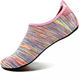 VIFUUR Men Women Swim Water Shoes Barefoot Aqua Socks Shoes for Beach Pool Surfing ColorfulPink-40/41