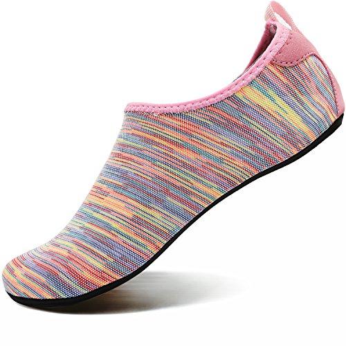 VIFUUR Men Women Swim Water Shoes Barefoot Aqua Socks Shoes for Beach Pool Surfing ColorfulPink-36/37