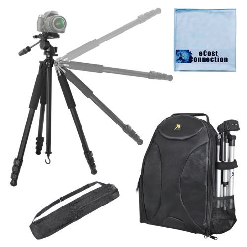 80-Inch Elite Series Professional Heavy Duty Camcorder Tripod + BP SLR Backpack for Panasonic AG-AC7, AG-AC8P, AG-AC90, AG-AC130, AG-AC160, AG-AF100, AG-AF100A, AG-HMC40, AG-HMC45, AG-HMC70U, AG-HMC80, AG-HMC150, DVX100B & More... + Microfiber Cloth