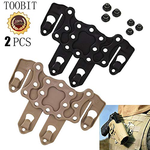 TOOBIT Glock 19 Accessories 2PCS Tactical Holster Molle Holster Adapter Polymer Carbon-Fiber Platform CQC Holster Hanger S.T.R.I.K.E.P 6 Pcs Screw (Black and Khaki)