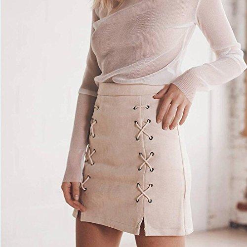 sude crayon empire mini taille femmes jupe fendu portefeuille la courte sexy des abricot lacets party 0FcBqW0fr