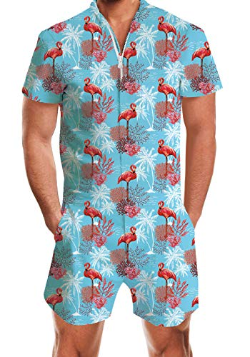 UNIFACO Men Flagmingo Printed Jumpsuit Pocket Short Sleeve 3D Graphic Blue Rompers Overalls One Piece Outfits for Hawaiian Beach Party