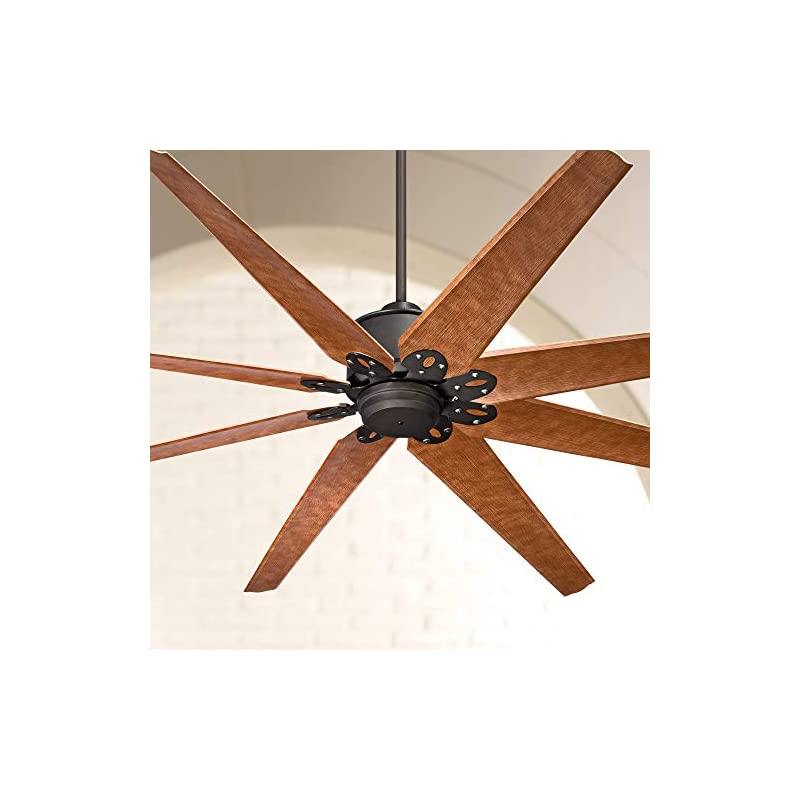 """72"""" Predator Rustic Industrial Farmhouse Large Outdoor Ceiling Fan with Remote Control English Bronze Cherry Damp Rated for Patio Exterior House Porch Gazebo Garage Barn Roof - Casa Vieja"""