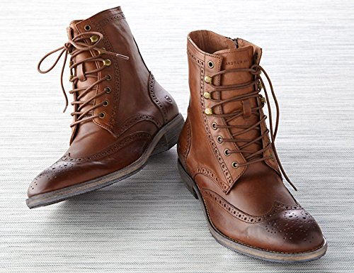 Zapatoslulu 20-59 Premium Red Encerado Cordones De La Zapato Botalaces Cigar Brown