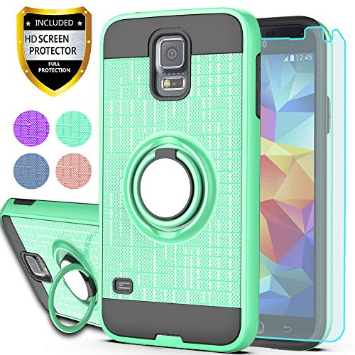 YmhxcY S5 Case,Galaxy S5 Phone Case with HD Screen Protector, 360 Degree Rotating Ring & Bracket Dual Layer Shock Bumper Cover for Samsung Galaxy S5 (I9600)-ZH Mint (S5 Covers Phone)