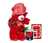 TiedRibbons® Valentine's Day Gift Combo(Teddy, Coffee Mug, Artificial Rose and Greeting Card)