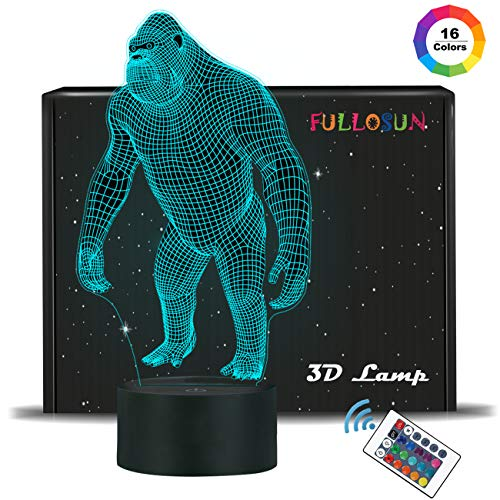 3D Night Light Ape Gorilla LED Nightlight Baby Nursery Monkey Lamp for Kids' Room Home Décor Xmas Birthday Gifts with 7 Color Changing